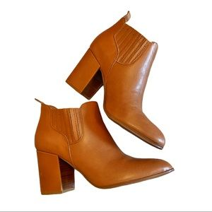 Kelsi Dagger tan leather chunky heel ankle boots